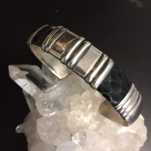 Mexico Sterling and Snakeskin Bracelet